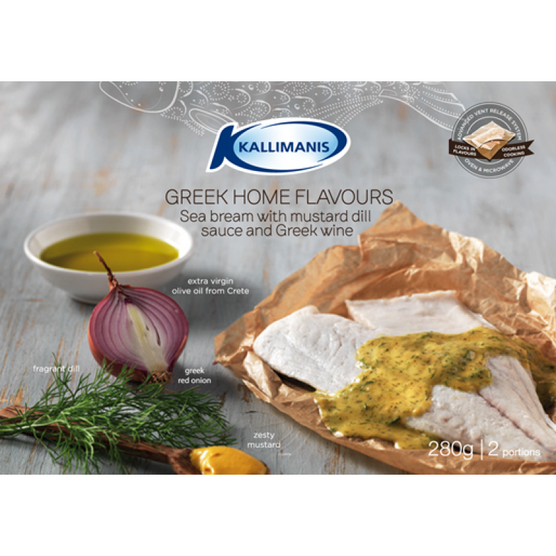 Sea bream with mustard dill sauce and Greek wine