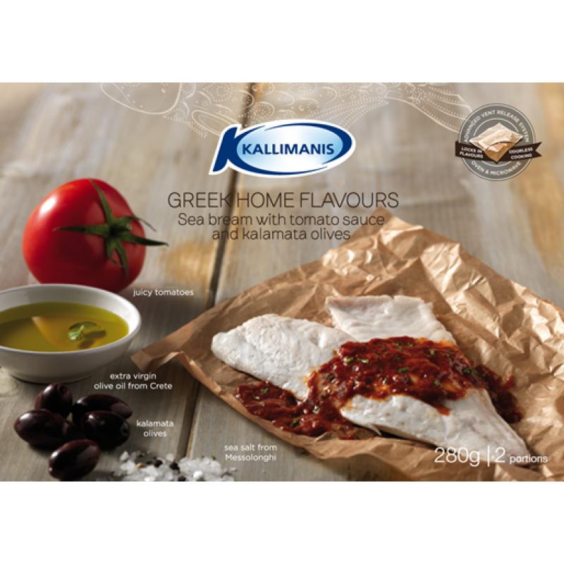 Sea bream with tomato sauce and kalamata olives