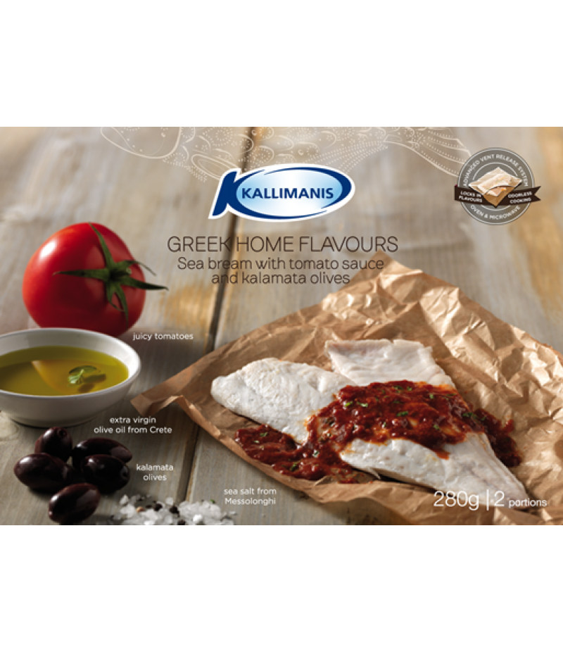 Sea bream with tomato sauce and kalamata olives